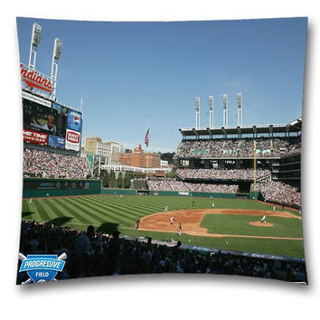 MAMA MLB Cleveland Indians Throw Cushion Pillow Cover for Baseball Fans Fans 18x18 Inch (45x45 Cm)