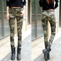 2016 New Casual Lady Cargo Pant Camouflage Women Outdoor Camo Jean Skinny Pencil Pant Pocket Style Camo Sweatpant Jogger pant