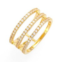Women's Alex Mika 'Ari' Triple Band Ring - Gold/ White Stone