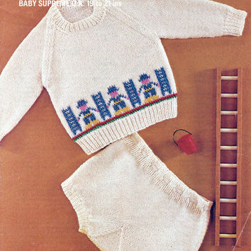 Babies' Vintage Knitting Pattern - Original Hard Copy Intarsia Pattern - Baby's Jumper And Knickers