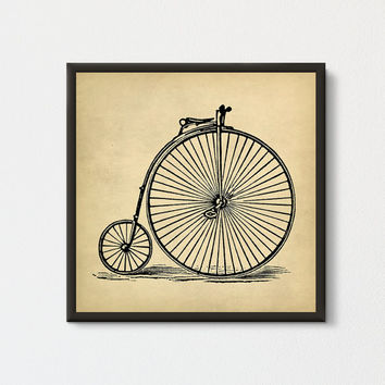 Vintage Bicycle Printable, Old Fashioned Cycle, Velocipede Wall Art, Old Bicycle Big Wheel, Antique Bicycle Square Print, Cycling Decor