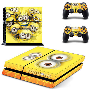 MINIONS Vinyl Decal Skin For playstation 4 Console +2Pcs Stickers For ps4 Controllers