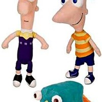 Disney Phineas and Ferb Set of 3 Plush 9 Inch Figures [Phineas, Ferb & Perry]