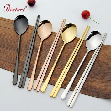 Stainless Steel Korean Tableware, Chopsticks & Spoon (2Pcs/Set, Black, Silver, Rose Gold, and Gold)
