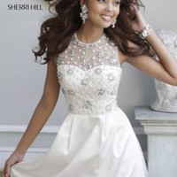 Beaded Short Ivory Silver High Neckline Jeweled Satin Cocktail Dress [new-dress-0476] - $218.00 : Cute New Arrival Style Homecoming Prom Dresses Online For 2015 Party
