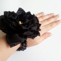 Wrist Corsage, Black chiffon satin flower, bridesmaid Corsage hand made silk flower black beads bracelet