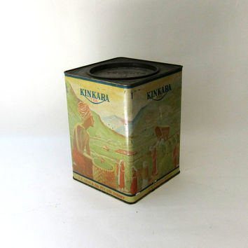 Vintage unusual collectable Australian large 5lb Kinkara tea tin