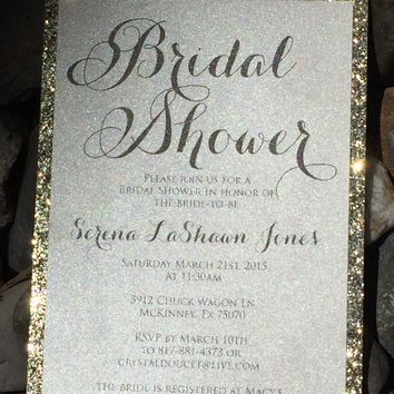 Bridal Shower Invitation - Glitter Bridal Shower Invitations - Set of 25
