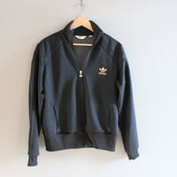 Adidas Jacket Gold Zipper Black Adidas Zip Up Sweatshirt Black Track Trefoil Jacket Retro Adidas Hipster Unisex 90s Vintage Size L