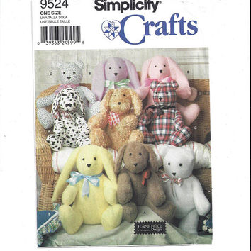 Simplicity 9524 Pattern for 14 Inch Stuffed Dog, Rabbit & Bear, Simplicity Crafts, Elaine Heigl Designs, Home Sewing Craft Pattern, Animals