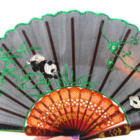 Asian Silk Hand Fan Embroidered Panda Bears With Floral Black Green Red Gold Boudoir Decor Vintage Collectible Gift Item 2110