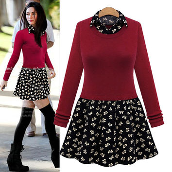 Plain Sweater And Patterned Collared Dress