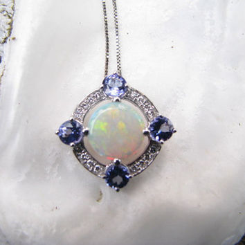 Beautiful 14K Gold Opal Tanzanite and Diamond Pendant Necklace - Colorful Opal - Gorgeous Tanzanite Color