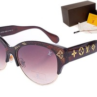 LV Mirrored Flat Lenses Street Fashion Metal Frame Women Sunglasses [2974244734]