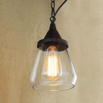 Recycled retro Nostalgic Hanging clear glass cup Pendant Lamp with Edison Light bulb