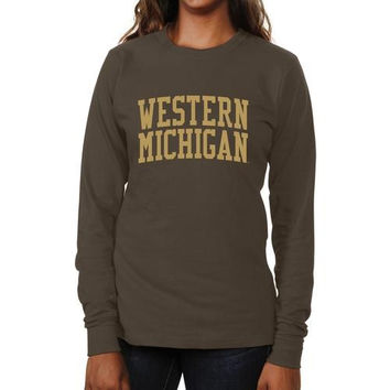 Western Michigan Broncos Ladies Basic Arch Long Sleeve Slim Fit T-Shirt - Brown