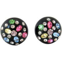 1950s Thermoplastic Rhinestone Button Earrings | Vintage Pastel Black Plastic Clip On