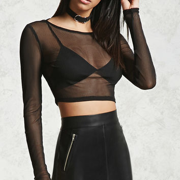 Sheer Ribbed Crop Top