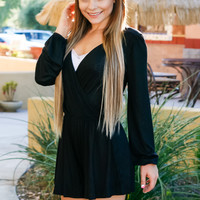 STRICTLY BUSINESS ROMPER IN BLACK