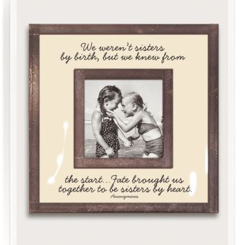 "We Weren't Sisters By Birth 3""x 3"" Copper & Glass Photo Frame"