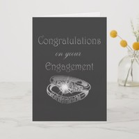Congratulations Engagement Rings Art Card