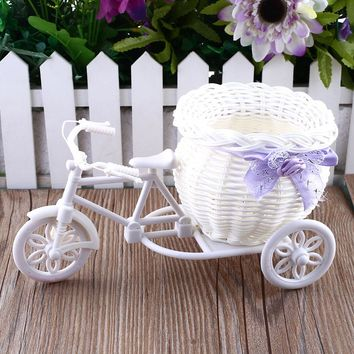 SOLEDI White Tricycle Bike Design Flower Basket Storage Container For Flower Plant Fleur Vase Home Party Weeding Decoration