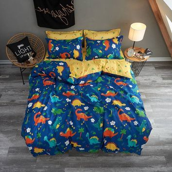 New Dinosaur Boys/girls Bedding Set King Queen Double Single Size Bed Linen Set (Not Include Comforter)