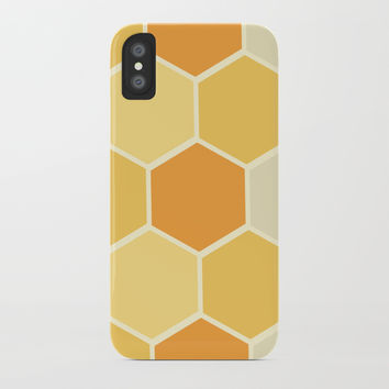 Yellow Honeycomb iPhone Case by spaceandlines