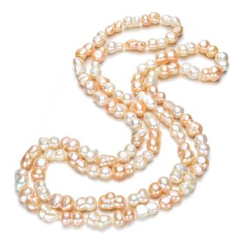 SNH 36inches Peanut shape 100% Genuine  Pearl Necklace Natural Freshwater Pearl Long Necklace Necklace For Women