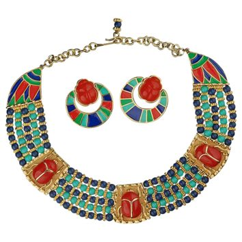 Vintage Hattie Carnegie Egyptian Revival Scarab Necklace & Earrings Set