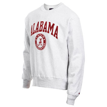Mens Alabama Crimson Tide Champion Gray Reverse Weave Crew Sweatshirt