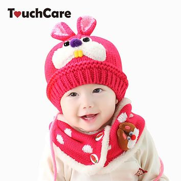 Baby Rabbit Hat Scarf Kids Winter Warm Knitted Cap Beanie Boys Girls Neck Warmer Ear flap Photography Props