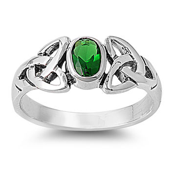 925 Sterling Silver CZ Wicca Celtic Triquetra Simulated Emerald Ring 8MM