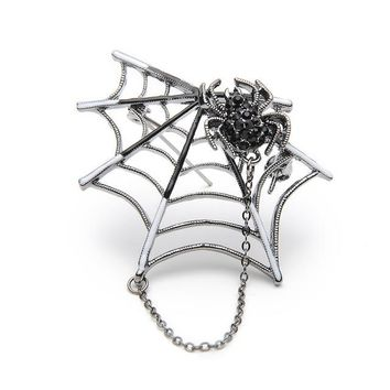 Rhinestone Black & Pink Magnet Spider And Cobweb Brooch