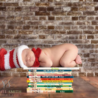 Cat in the Hat, Baby Hat and Bowtie, Dr. Seuss Inspired Crochet Cat in the Hat Set, Red and White Striped, Unisex, Newborn Photo Prop
