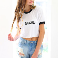 Kawaii Princess Cropped Ringer Tee