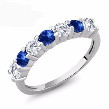 1.28 Ct Round White Created Moissanite Blue Sapphire 925 Sterling Silver Ring