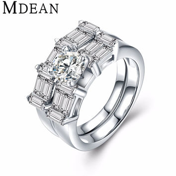 MDEAN White Gold Plated Rings for women CZ diamond Jewelry wedding ring engagement women rings Bague fashion Accessories MSR802