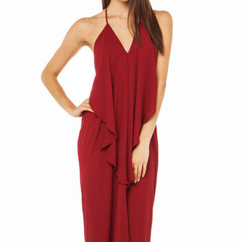 Burgundy Halter Backless Maxi Dress