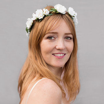 Ivory Rose Bridal Flower Crown - Rose Crown, Wedding Headpiece, Vintage, Rose, Ivory, Floral Crown, Woodland Wedding, Headband