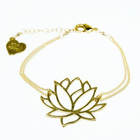 Gold Lotus Flower Bracelet | VidaKush