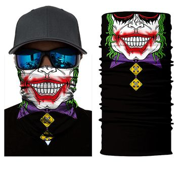 BJMOTO Motorcycle 3D Seamless Skull Balaclava Neck Face Mask Festival Clown Joker Headscarf Military Bandana Headwear Scarf
