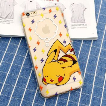 Pikachu Sleeping Pokemon Phone Case For iPhone 7 7Plus 6 6s Plus 5 5s SE