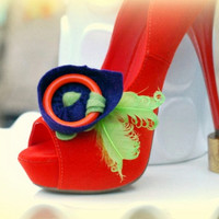 Whimsical Shoe Clips. Bridal Wardrobe, Big Day Night Out Date, Playful Fashion Gift for Her Preppy Couture Bride, Orange Circle Abstract Fun