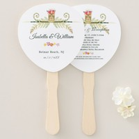 Elegant Floral Tropical Summer Wedding Details Hand Fan