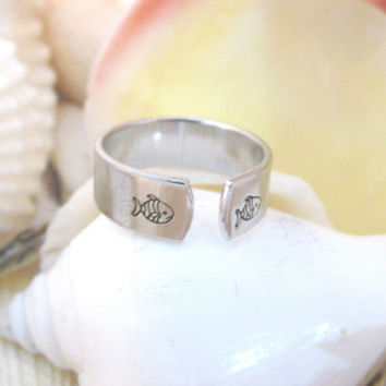 Fish Ring  Handstamped Ring Aluminum Ring by LemonLimeCreations