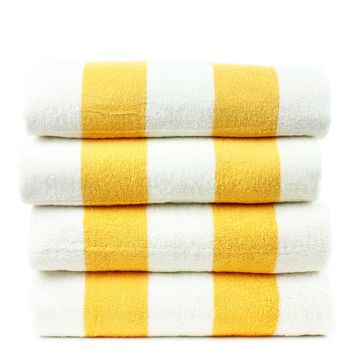 Luxury Hotel Collection 100% - CottonPool Beach Towel, 30x70 Inches - Set of 4 - Cabana - Extra Absorbent 100% Cotton - For Beach, Gym and Spa - Yellow