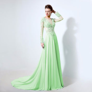 Sheer Neck Prom Dresses,Green Prom Dresses,Long Evening Dress