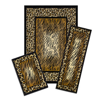 Achim Importing Co Capri 3 Piece Brown Leopard Skin Area Rug Set