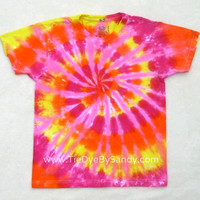 SALE! Child Medium Tie Dye Shirt Pink Orange Yellow Spiral